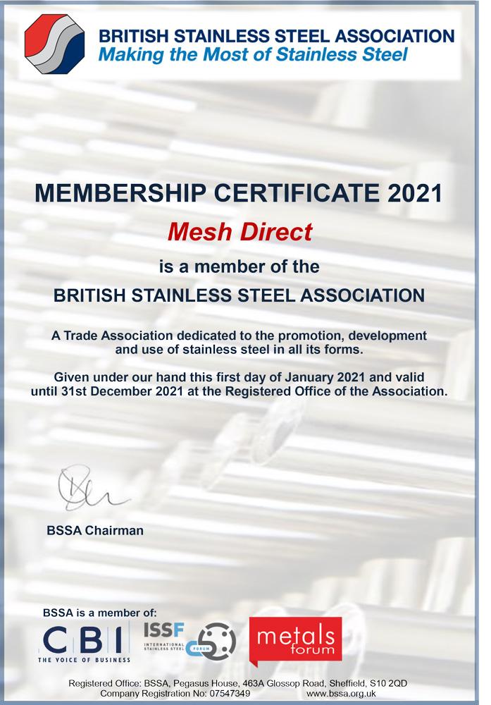 BSSA Certificate